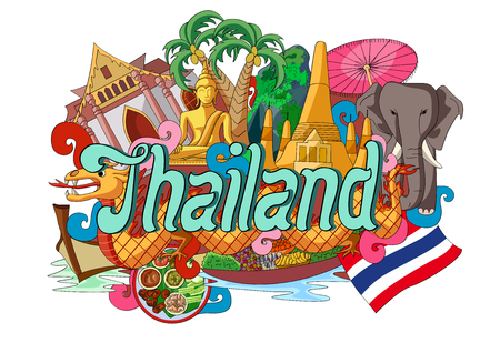 thailand culture: vector illustration of Doodle showing Architecture and Culture of Thailand Illustration