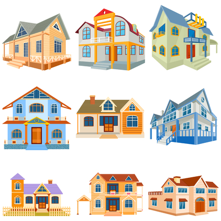 bungalow: vector illustration of set of different residential bildong and bungalow Illustration