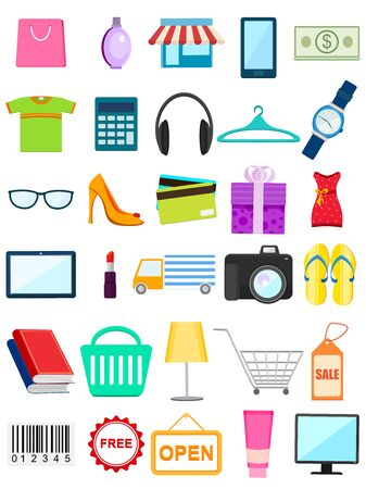 promotional: vector illustration of shopping sale different icon element Illustration