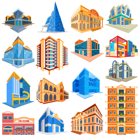 building fire: vector illustration of set of different residential and commercial building