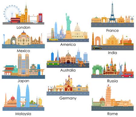 世界中の重要な都市の有名な建物のスカイラインのベクトル イラスト