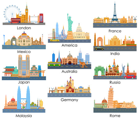 around the world: vector illustration of skyline of famous building of important city around the world