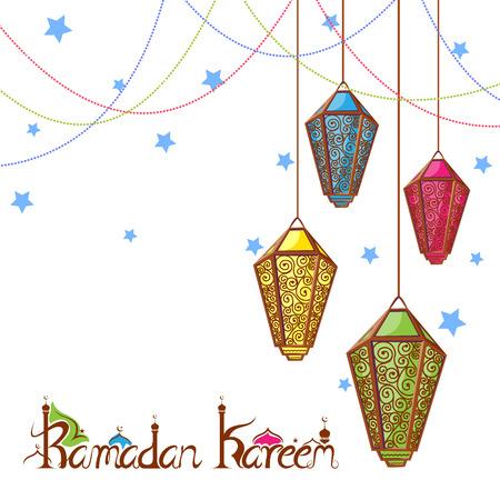 为斋月Kareem背景照明灯的矢量插图