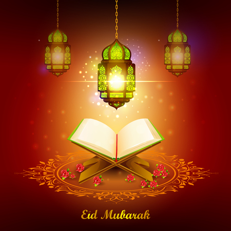 vector illustration of holy book of Quran with lamp on Eid Mubarak Blessing for Eid background