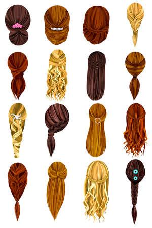 hairdo: Vector design of beautiful collection of female hairdo Illustration