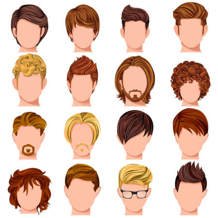 sexy male model: Vector design of collection of trendy mordern male hairstyle Illustration