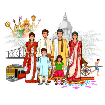 bengal: Vector design of Bengali family showing culture of West Bengal, India