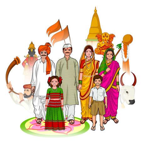 hindu temple: Vector design of Maharashtrian family showing culture of Maharashtra, India