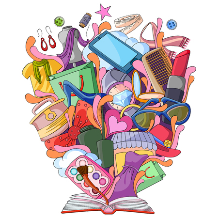 vector illustration of Book of Knowledge for Fashion Illustration