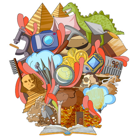 archaeology: vector illustration of Book of Knowledge for Archaeology