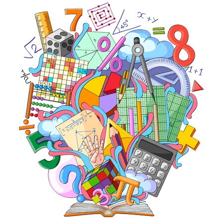 vector illustration of Book of Knowledge for Mathematics Illustration
