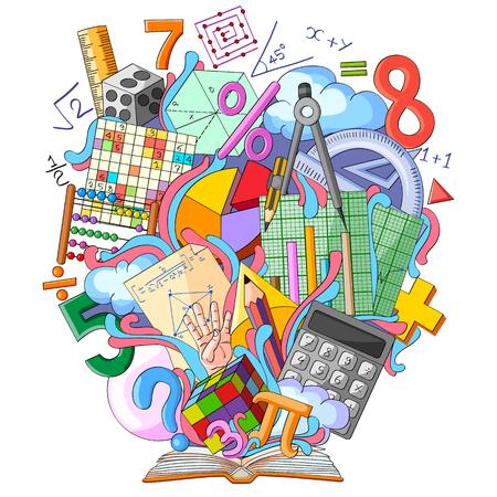 vector illustration of Book of Knowledge for Mathematics Stock Illustratie