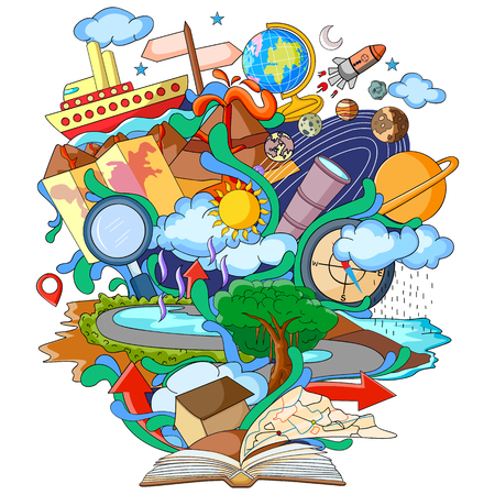 vector illustration of Book of Knowledge for Geography