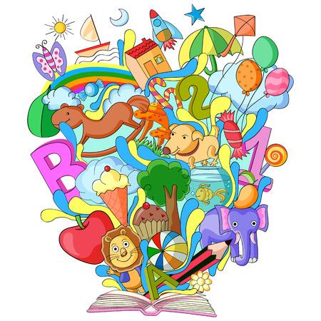 ilustración vectorial de libro del conocimiento para los niños