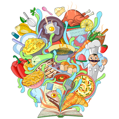 cover book: vector illustration of Book of Knowledge for Cookery Illustration