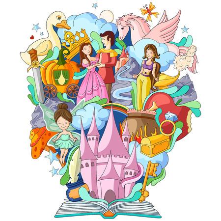 ファンタジーの物語の本の知識のベクトル イラスト