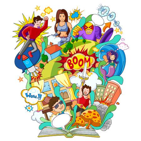 만화책과 슈퍼 영웅을위한 지식의 책의 벡터 일러스트