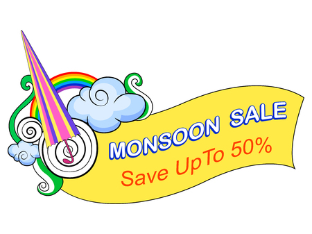 promotional offer: vector illustration of Happy Monsoon Sale Offer promotional and advertisment banner