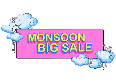 monsoon clouds: vector illustration of Happy Monsoon Sale Offer promotional and advertisment banner