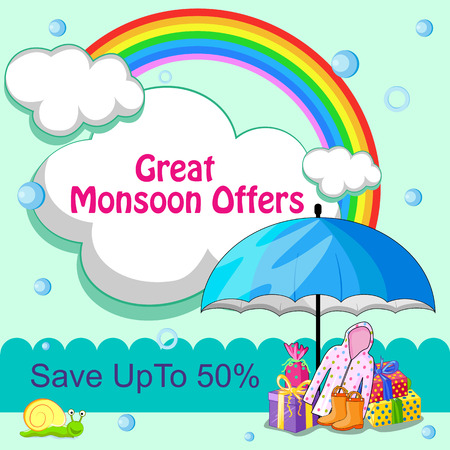 advertisment: vector illustration of Happy Monsoon Sale Offer promotional and advertisment banner