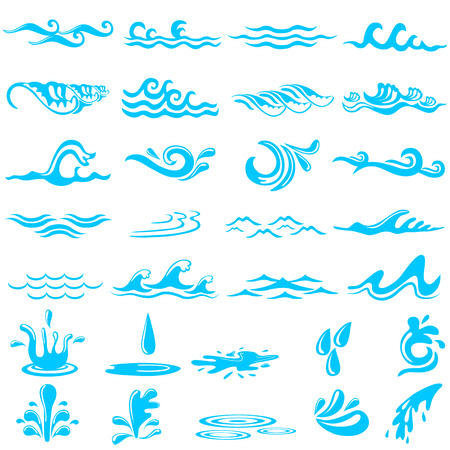 vector illustration of collection of simple ocean wave Иллюстрация