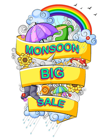 monsoon: vector illustration of Happy Monsoon Sale Offer promotional and advertisment banner