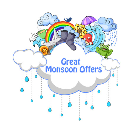 vector illustration of Happy Monsoon Sale Offer promotional and advertisment banner