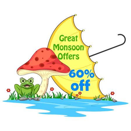 gotas de agua: ilustración vectorial de feliz monzón Venta oferta promocional y la bandera anuncio
