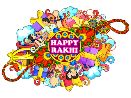 vector illustration of decorated doodle art of Happy Raksha Banhan Illustration