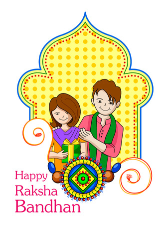 sisters: Vector illustration of brother sister in Raksha Bandhan