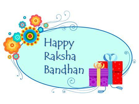 raksha: vector illustration of decorated Rakhi with gift for Raksha Bandhan
