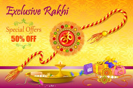 vector illustration of decorated Rakhi with gift for Raksha Bandhan Sale