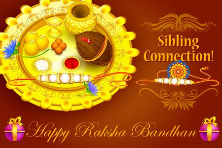 raksha bandhan: vector illustration of Rakhi pooja thali for Raksha Bandhan Illustration