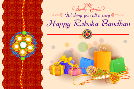 pooja: vector illustration of decorated Rakhi with gift for Raksha Bandhan