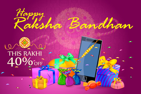 raksha: vector illustration of decorated Rakhi with gift for Raksha Bandhan Sale