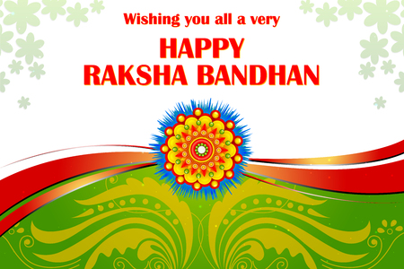 vector illustration of beautiful Rakhi on Raksha Bandhan background Illustration