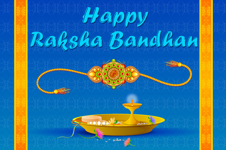vector illustration of Rakhi pooja thali for Raksha Bandhan Illustration