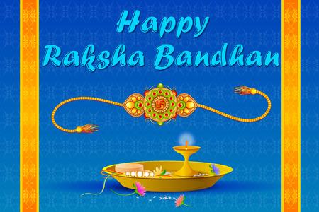 raksha: vector illustration of Rakhi pooja thali for Raksha Bandhan Illustration