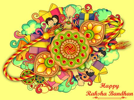 raksha: vector illustration of decorated doodle art of Happy Raksha Banhan Illustration
