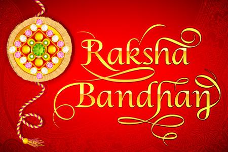 raksha: vector illustration of beautiful Rakhi on Raksha Bandhan background Illustration