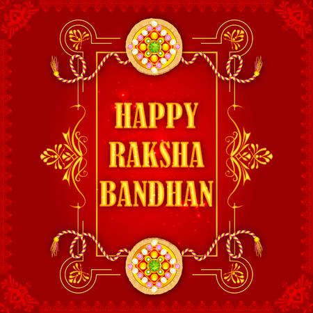 pooja: vector illustration of beautiful Rakhi on Raksha Bandhan background Illustration