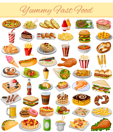 vector illustratie van Yummy Fast Collection Eten