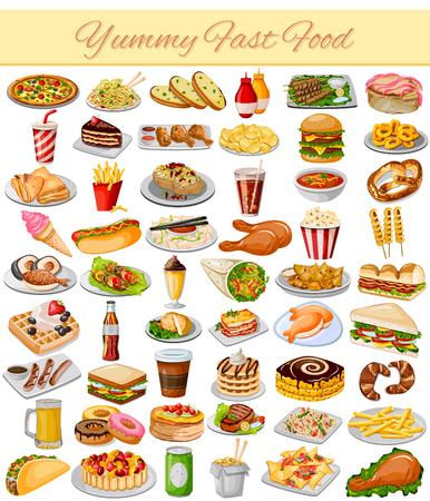 Vektor-Illustration von Yummy Fast-Food Collection