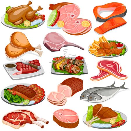 aves de corral: ilustración vectorial de aves de corral y carne de producto Colección de Alimentos