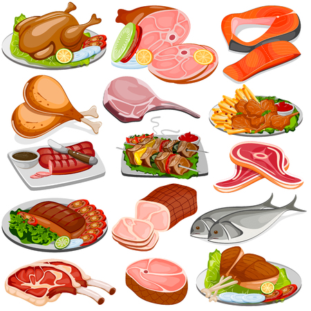 cooked meat: vector illustration of Poultry and Meat Product Food Collection