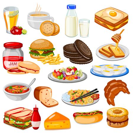 vector illustration of Breakfast Menu Food Collection