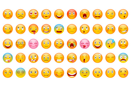 vector illustration of Glossy Emoticon Collection with different expression smiley