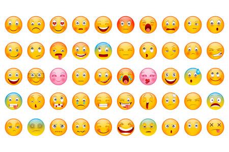 expresiones faciales: ilustración vectorial de la Colección del Emoticon brillante con diferente expresión sonriente