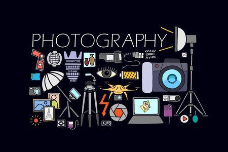 microstock: vector illustration of flat line art design of  Photography concept for web design template Illustration