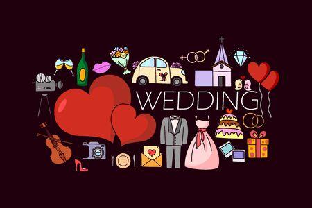 vector illustration of flat line art design of wedding concept for web design template Illustration